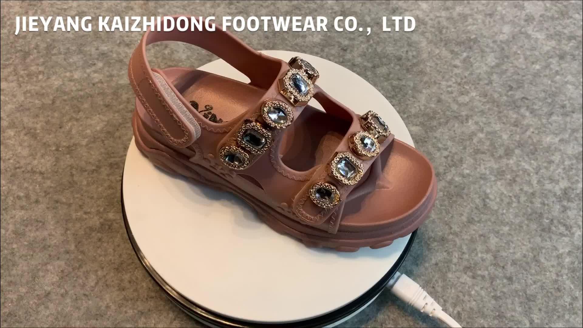 Tıknaz tanga altın elmas glitter rhinestone pcu ayakkabı platformu kama topuk kalın dipli tay terlik sandalet yüksek topuk 2019