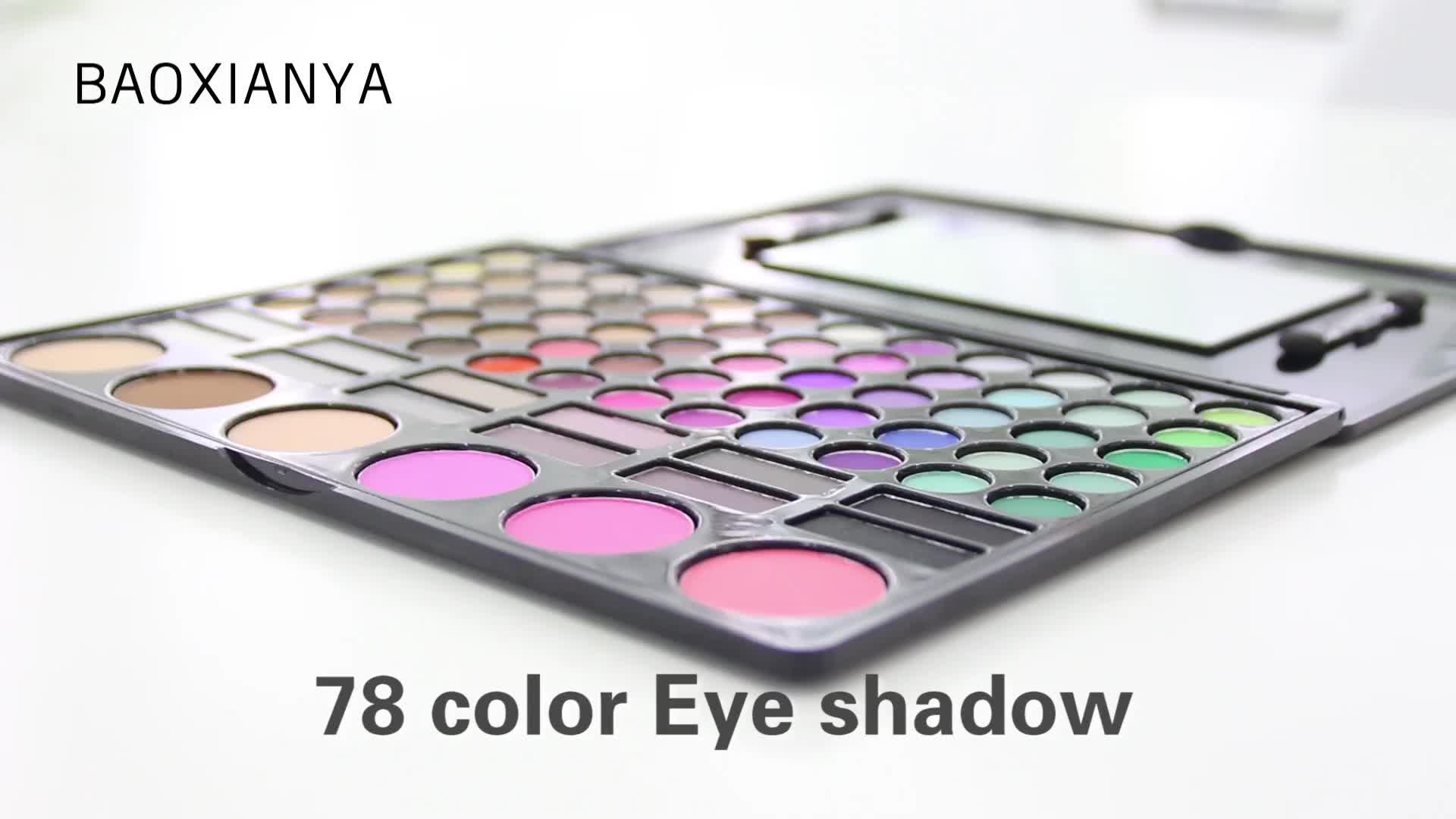 थोक OEM रंगीन कॉस्मेटिक प्राकृतिक मैट किट शक्की 78 रंग मेकअप आंखों के छायाएं पैलेट निजी लेबल कस्टम आंखों के छायाएं पैलेट