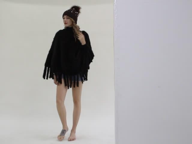 Luxury Mink Fur Poncho Real Animal Fur Ladies Coat Natural Mink Fur Coat