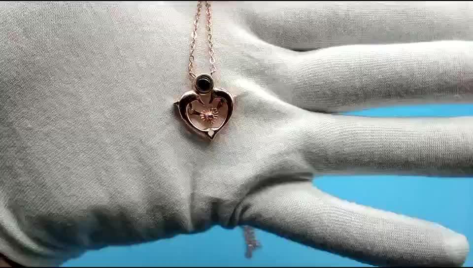 Neue 100 Sprachen Ich Liebe Dich Speicher Halskette für Frauen Projektion Herz Anhänger Dolphin Halskette Gold Schmuck Halskette Für Lieben