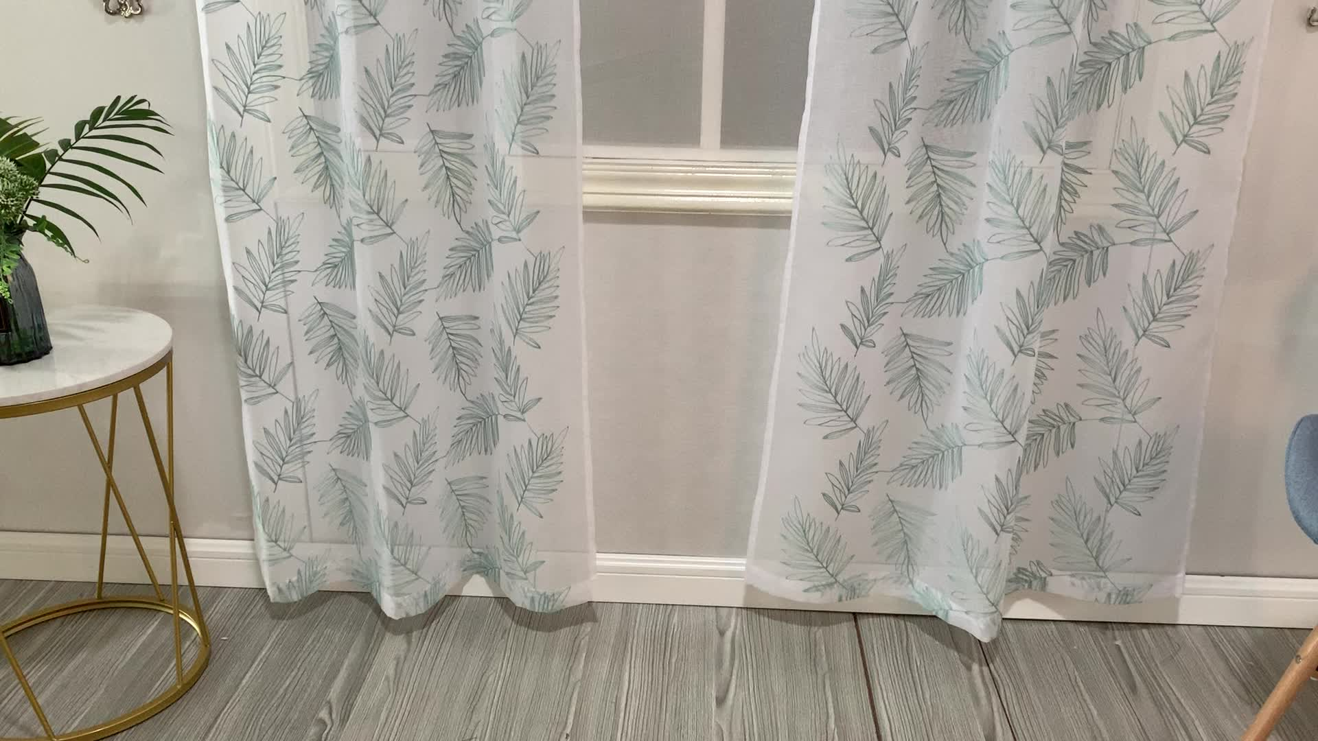 American style blue tropical bahamas leaf embroidery summer beach feel window drapes