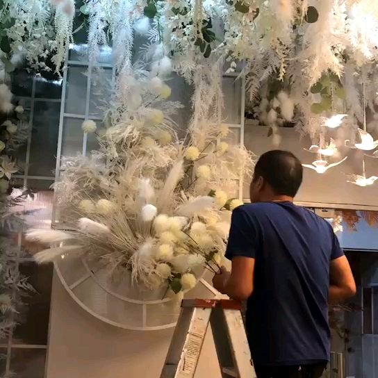 IFG silk artificial wedding flowers white hydrangea bouquet flower with 5 head
