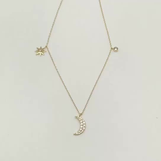 Jewelry customized, starlight and moon pendant necklace, gold necklace