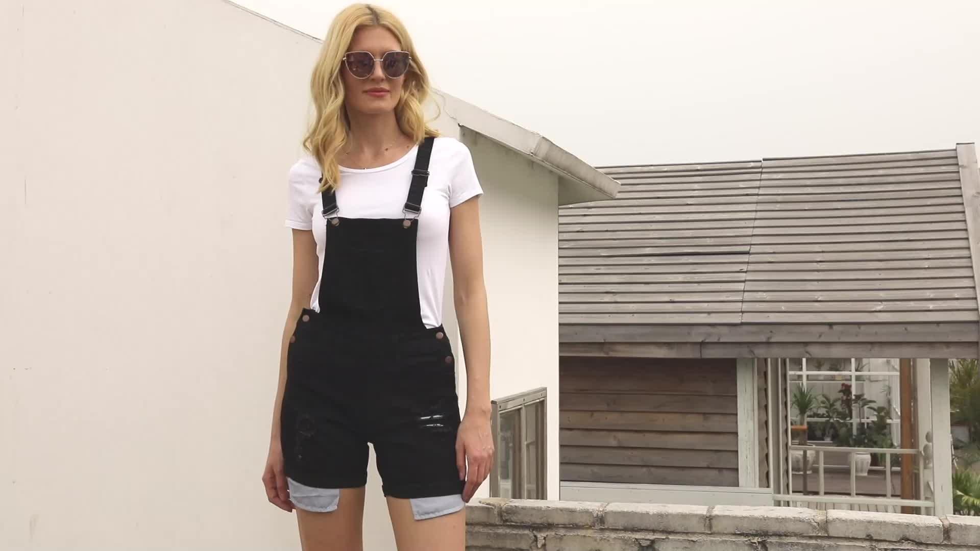 Fashion Denim Turn Up Cuffs Short Overalls Jeans for Women