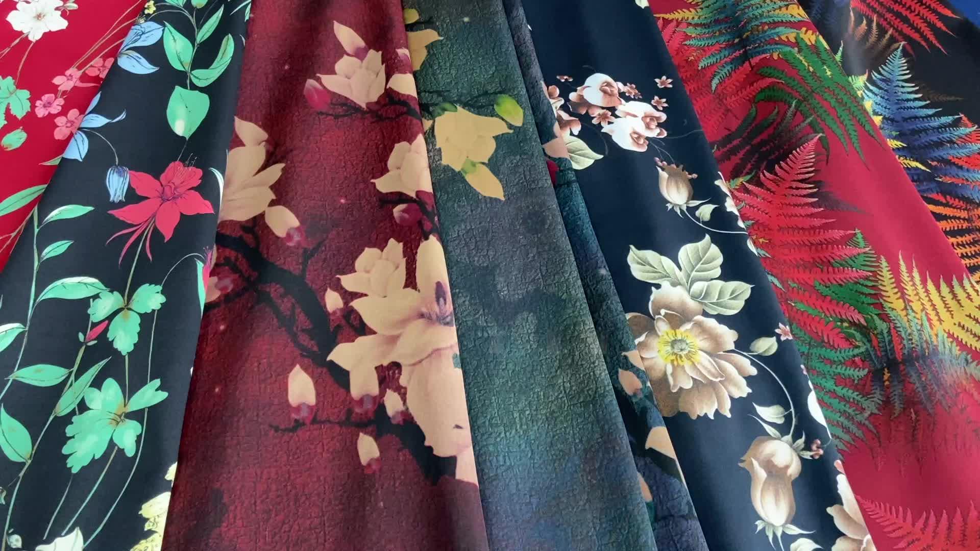 WI-E03 desain Yang Berbeda dari spandex polyester satin sutra sifon kain dengan digital printing