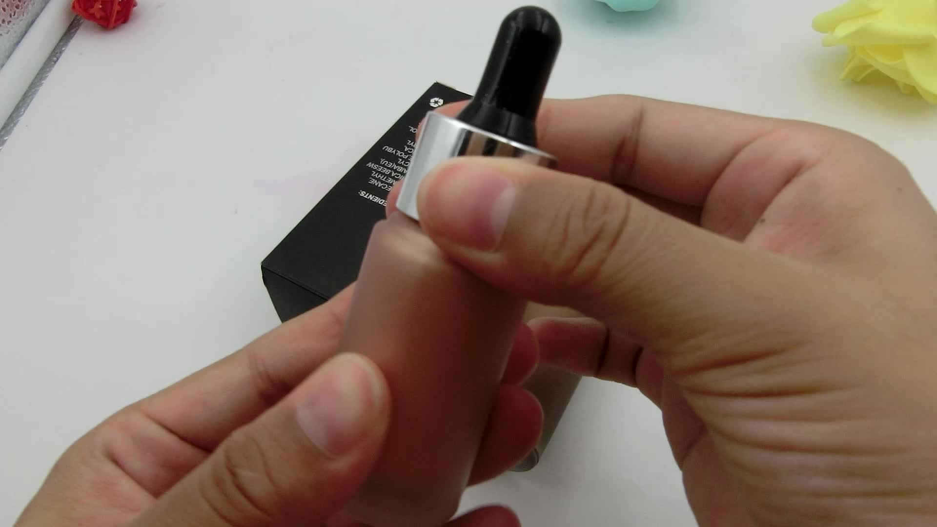 Marka OEM organik kozmetik 3 renk yüz makyaj özel etiket kendi gri fosforlu sıvı tüm vücut highlighters
