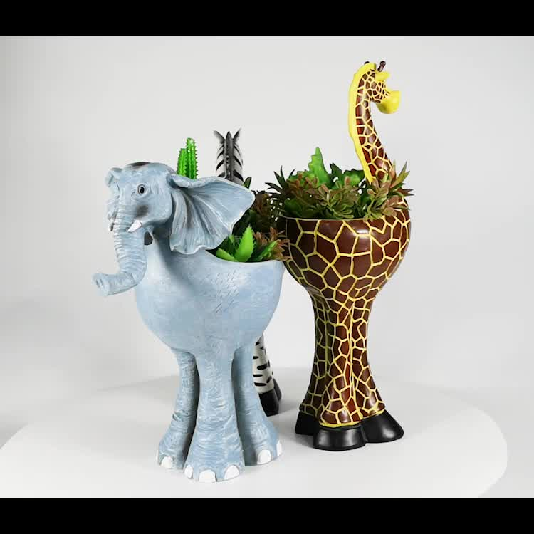Hand painted Polyresin Giraffe Shape Lovely Animal Decorative Flower Pot with artificial flower