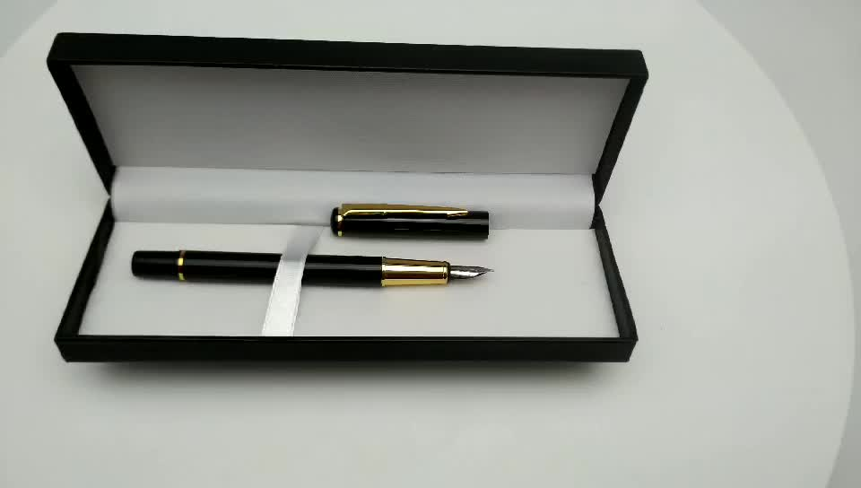 Manufacture Wholesale Classical Metal Black Fountain Pen Customized Logo Pen With Gift Box