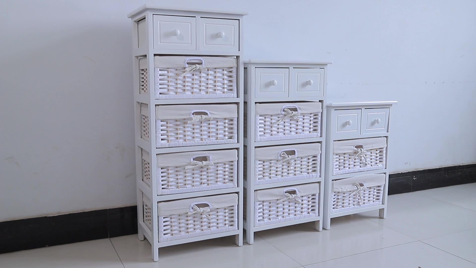 Bianco armadio di stoccaggio mobili industriale del commercio all'ingrosso con cestino rattan