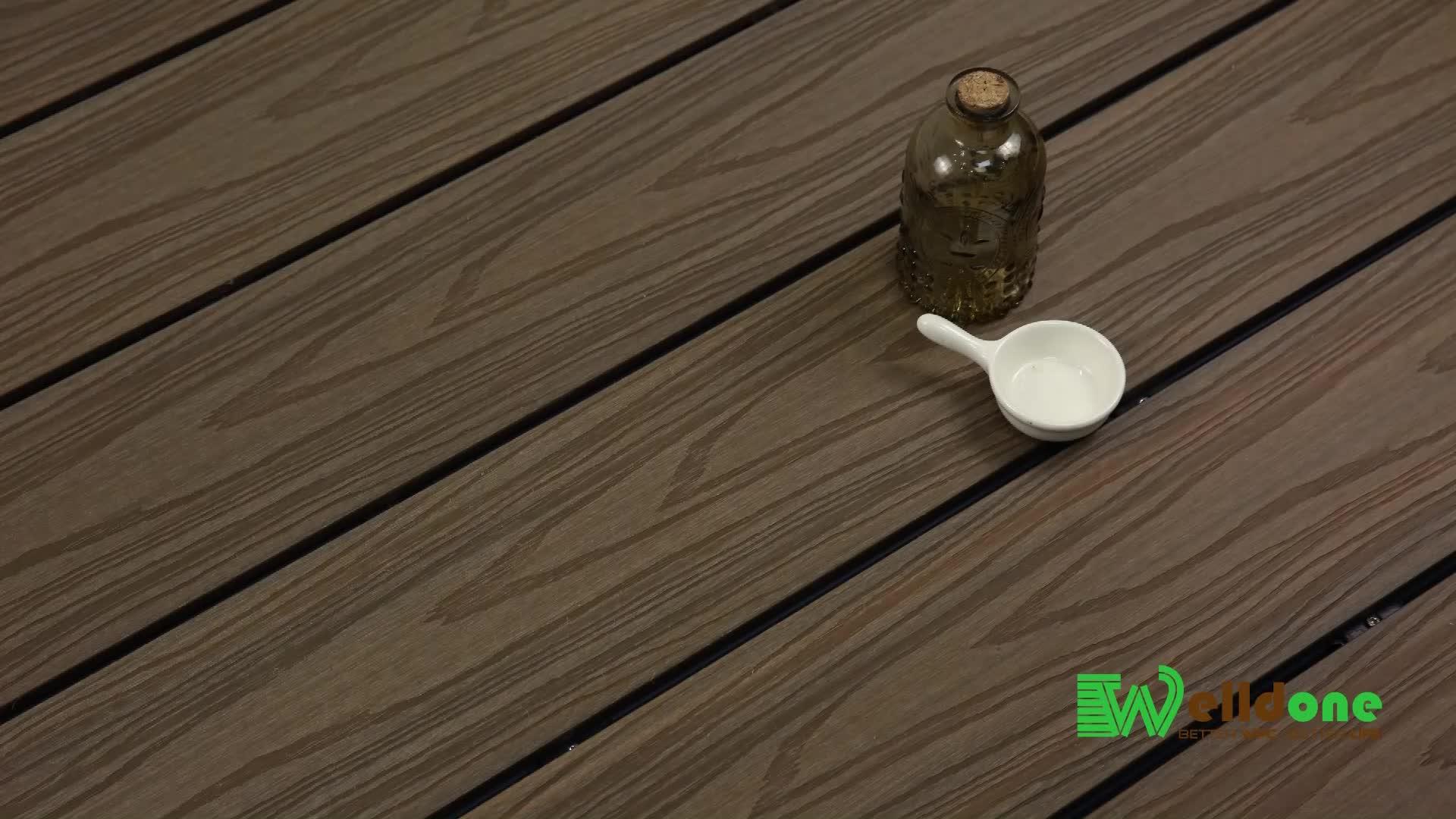 PEAD anti uv grão de madeira cinza claro co-extrusão de wpc decking composto de plástico ao ar livre varanda piso laminado de engenharia