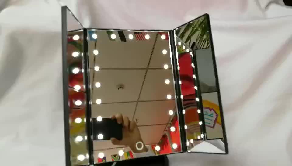 21 LED Iluminado Espelho de Maquiagem de Viagem portátil Compacto Para As Mulheres Preto Branco Rosa