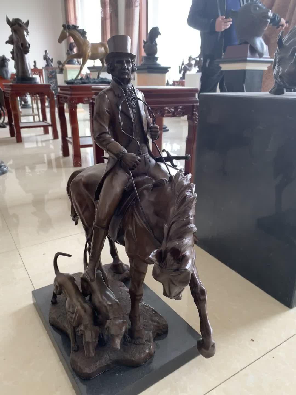 Küçük boyutlu ev dekorasyonu antika Metal sanat bakır sürme at şövalye heykel bronz kovboy heykeli