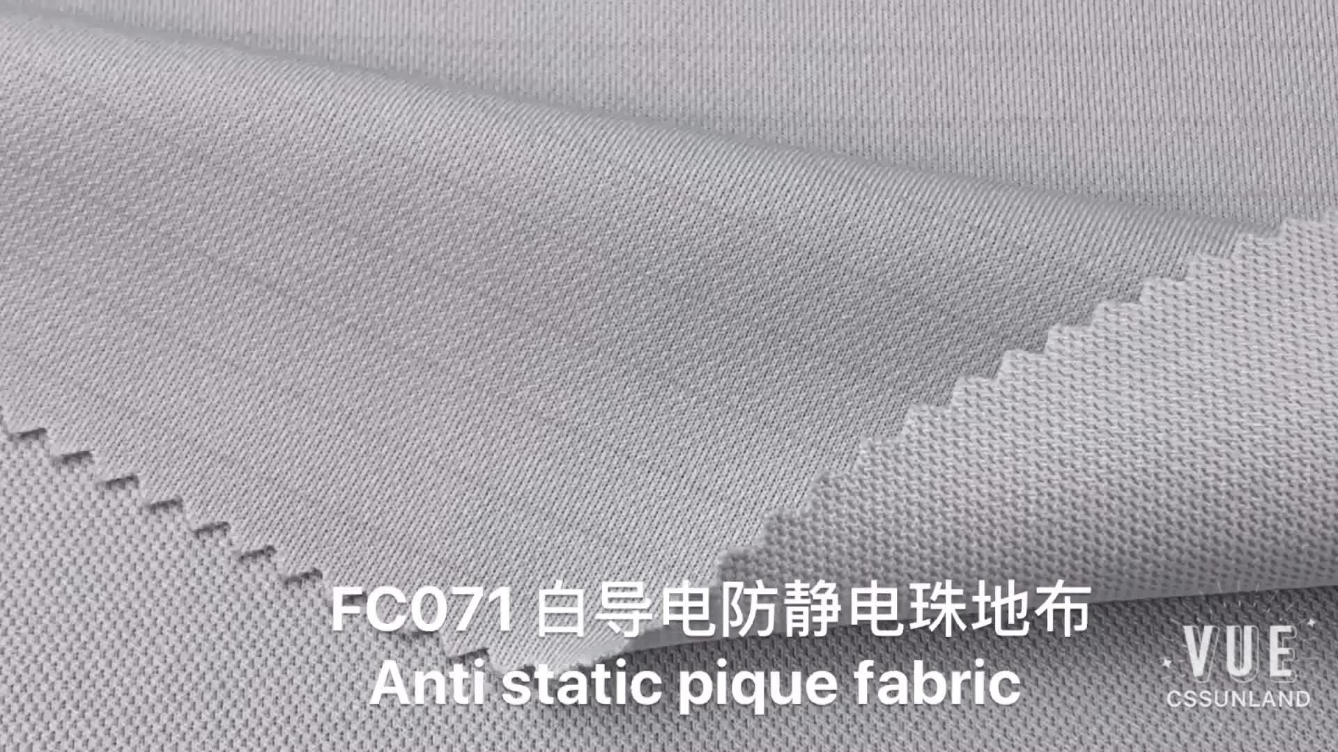 gas station worker uniform clothes 28 Gauge knit 99% polyester 1% belltron white anti static carbon pique mesh fabric