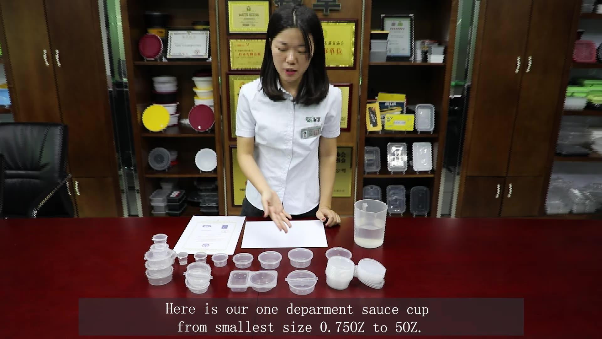 0.75/1/1.5/2/3/4/5 unzen multi kapazität kleine pp einweg kunststoff verschiedene größe für dressing lebensmittel sauce tasse mit deckel