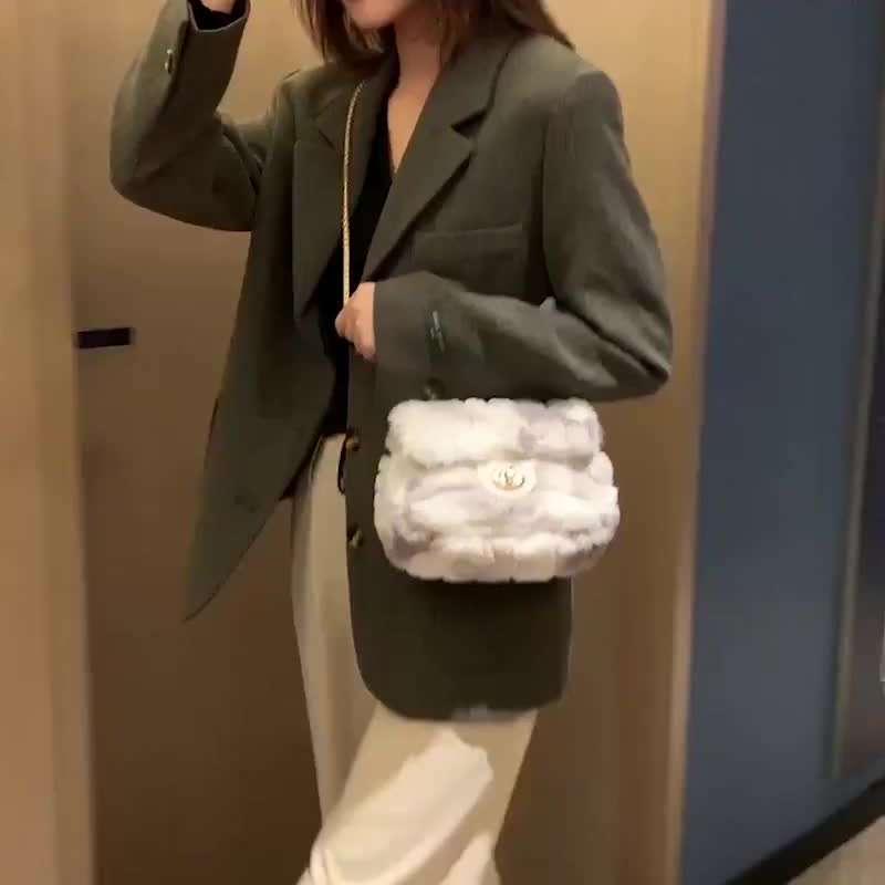 New style wool bag chain single shoulder bag women's wool single shoulder messenger bag can be used as hair substitute