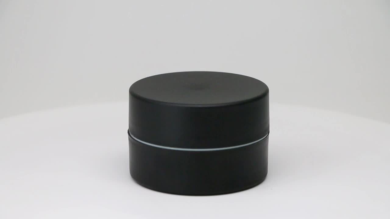 100 gram double wall matte black plastic jar with lid for cosmetic packaging