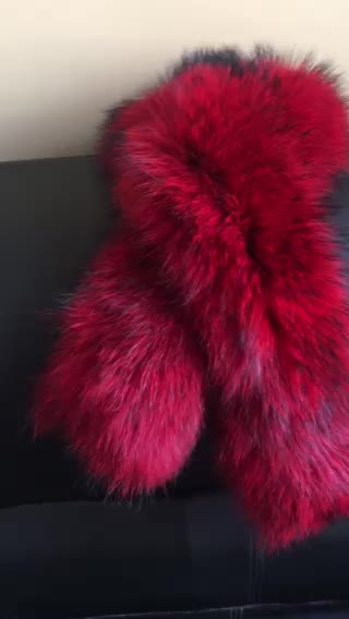Dense Real Raccoon Fur Scarf for women