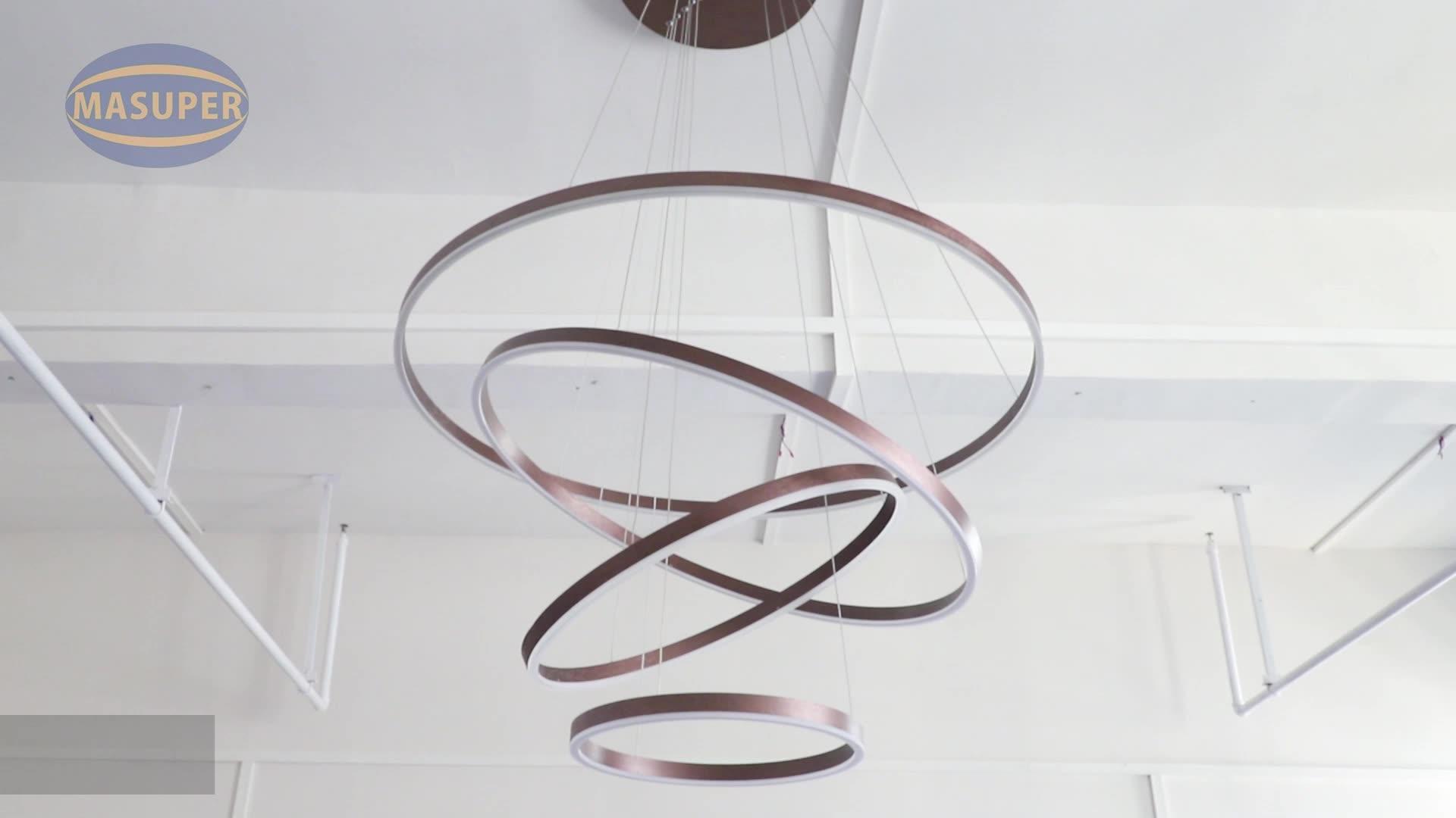 large adjustable indoor custom  post modern bedroom 3 circle round  led pendant light  for home