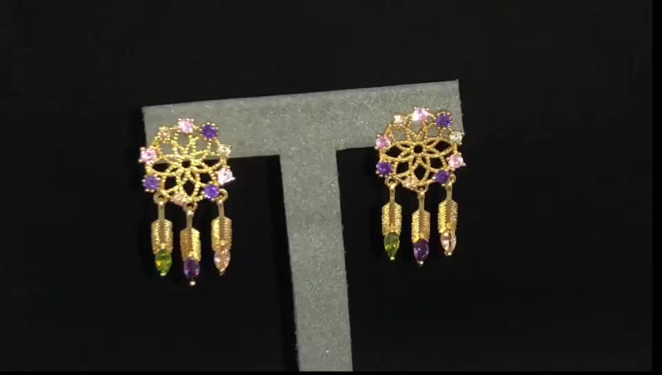Fashion 18K Gold Color Copper Alloy Small Snowflake Stud Earring With Feather Shape Drop For Women