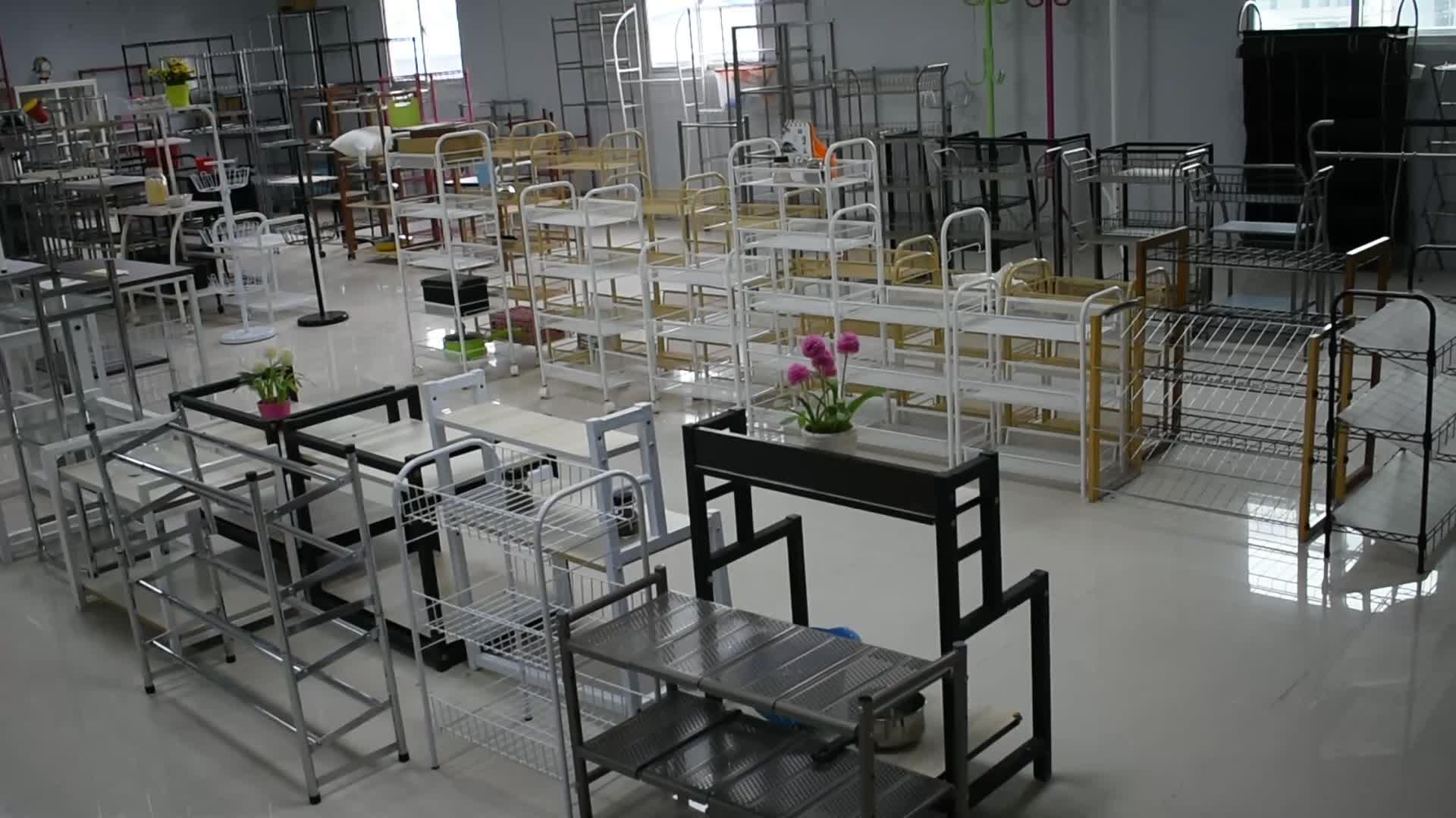 Movable storage metal kitchen cart