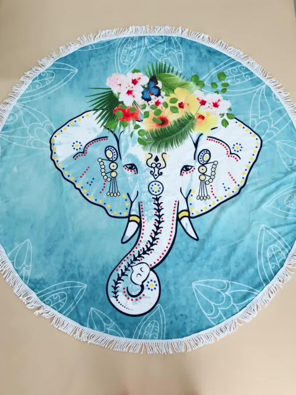 R4002 รูปแบบสัตว์รอบผ้าเช็ดตัวชายหาดและช้าง