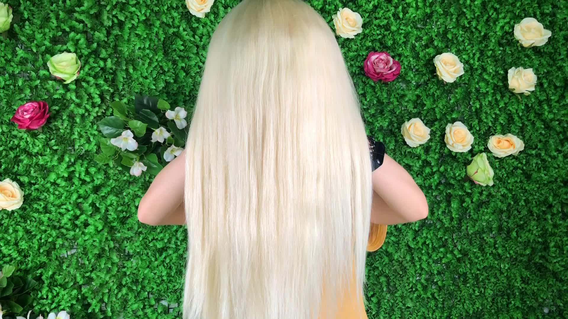 En gros 150 Densité Platine Blond Miel 613 Pleine Dentelle Perruque De Cheveux Humains, Vierge Blonde Droite 613 Perruque, brésilien Cendres Blonde Perruque
