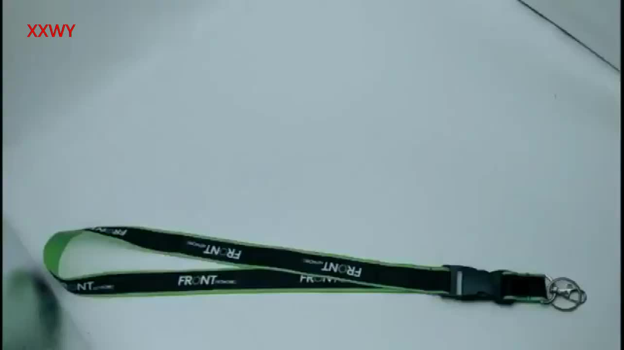 Woven your logo round cord lanyard with phone holder