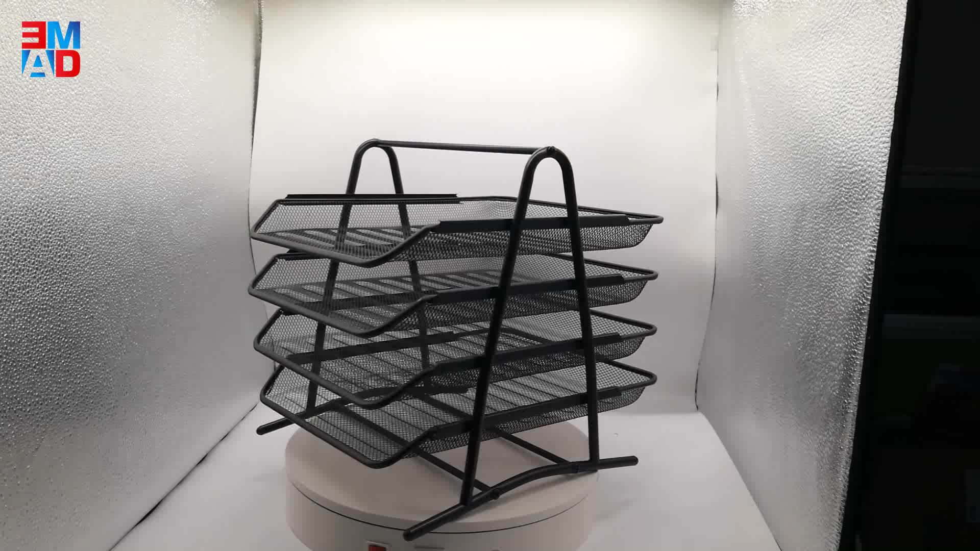 Quality office home desktop metal wire mesh black foldable 4 tiers document tray A4 paper tray modern design desk file organizer