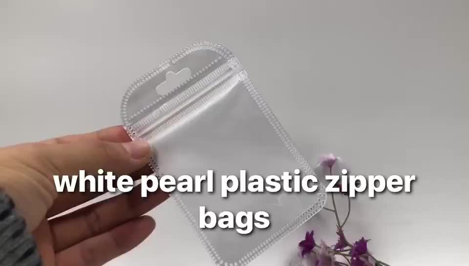white pearl plastic bags zip lock poly bags white plastic packaging bags for accessories