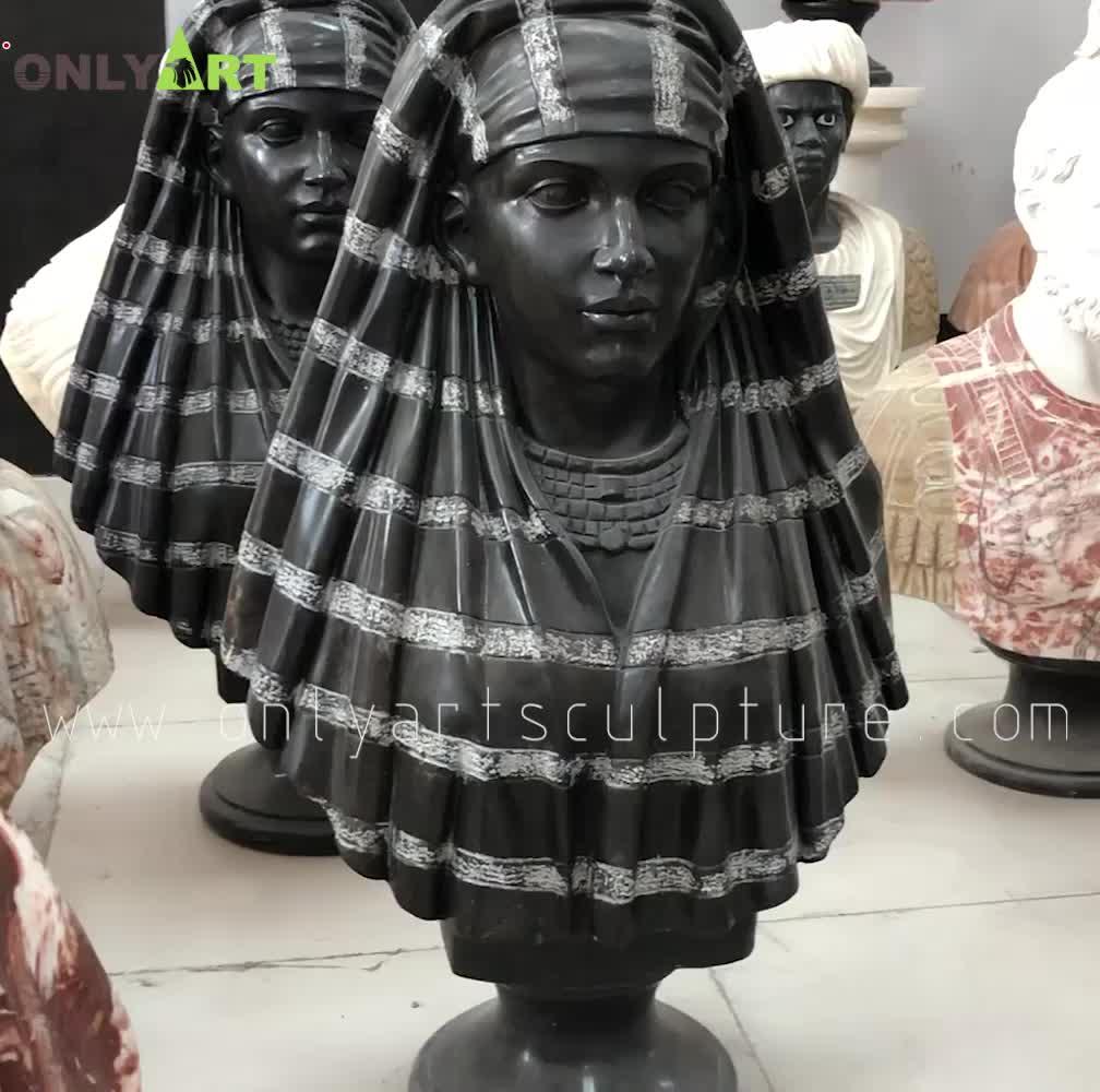 Yaşam boyutu afrika mermer büstü heykeli