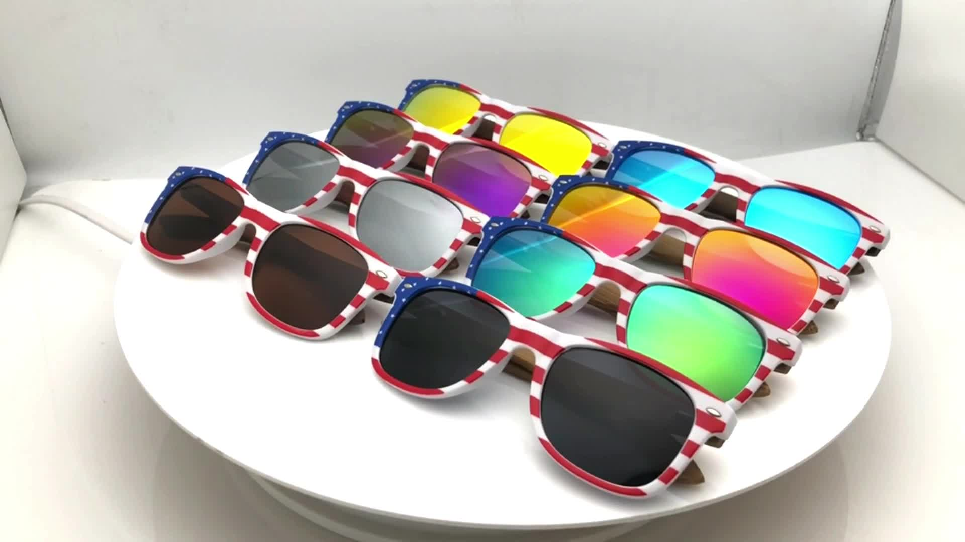 2020 New Design American USA Flag frame Sunglasses Bamboo Wooden Polarized Eyeglasses Men Women