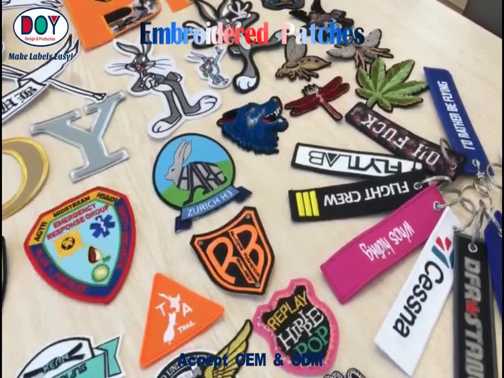Sew on Wholesale Custom Reflective Cartoon Brand Name Logo Design Embroidery Patches for Overcoats