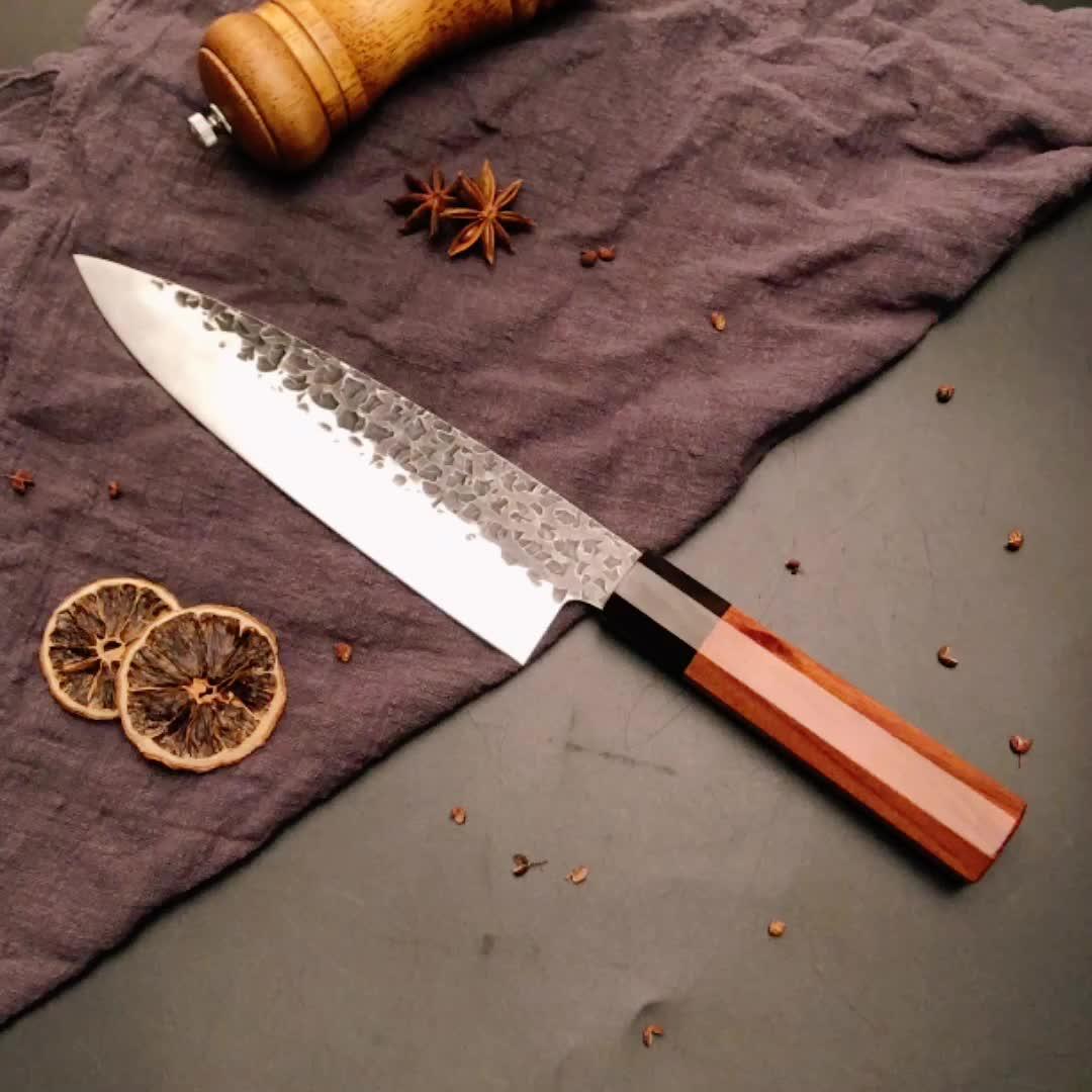 "Octagon Lidar 8 ""Japonês Sashimi Faca Artesanal Martelo Forjadas Kirisuke Chefs Facas para Cozinha"