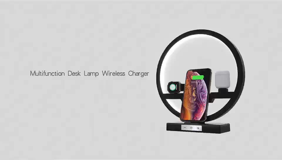 2020 New Design 3in1 Wireless Charger Station with Turn on/off LED Lamp for Phone for Airpods for Apple Watch Charging W38