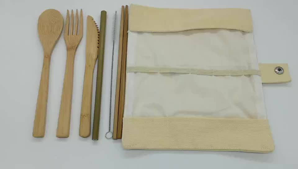 Eco Friendly Reusable Travel Utensils Wooden Flatware Kids Adults Camping Bamboo Cutlery Set