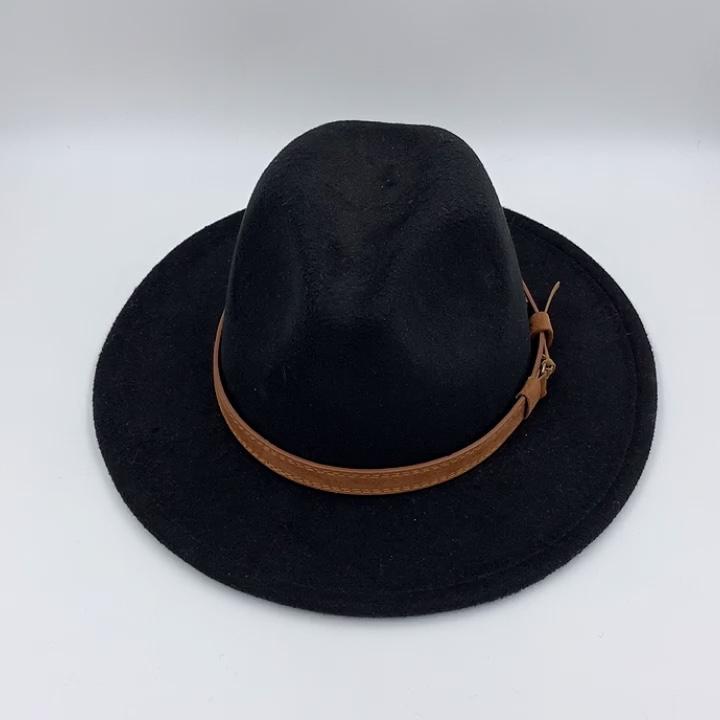 SH-1002 Men Women Classic Vintage Belt Buckle Wide Brim Fedora Hat