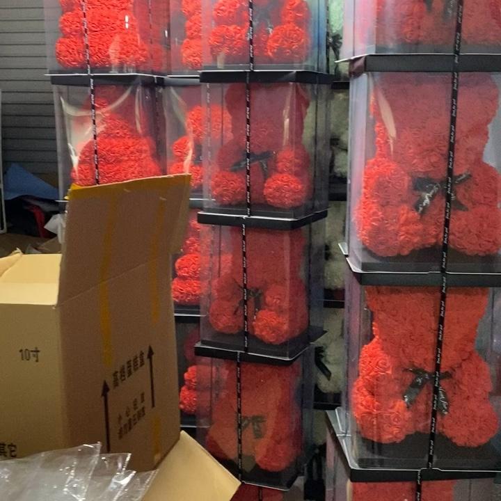 2020 발렌타인 고품질 영원히 영원한 꽃 테디 로즈 곰 25 cm 선물 상자