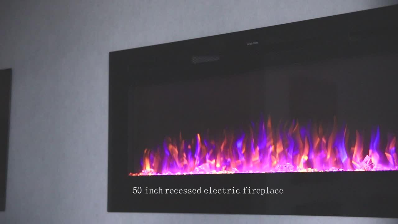 """50 """"dekoratif elektrikli şömine, duvara monte/duvar gömme elektrikli ısıtıcı, uzaktan kumanda, 750/1500W, 1 yıl garanti"""