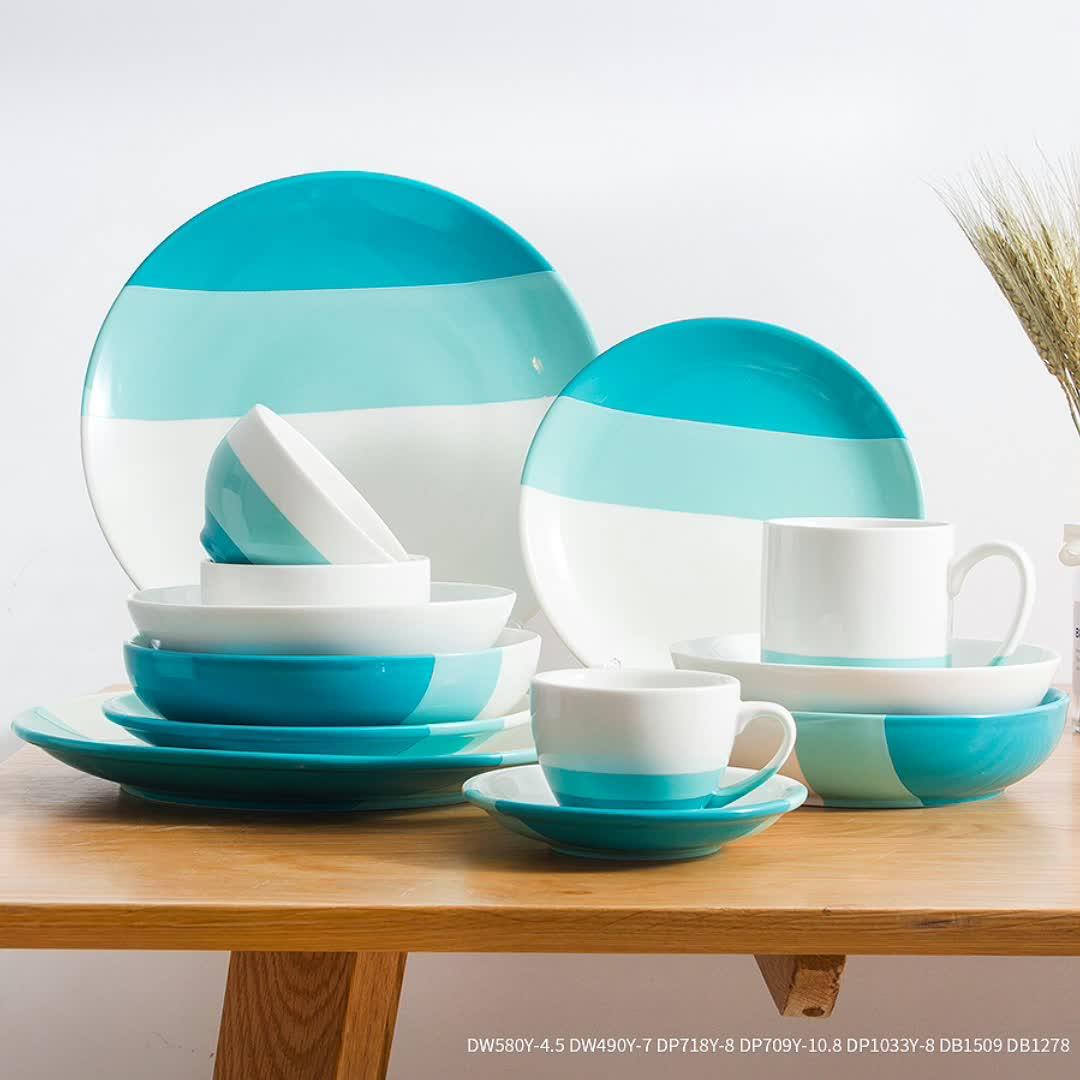 厂家直销定制陶瓷餐具套装北欧色釉创意碗盘碟礼盒装家用瓷器套装