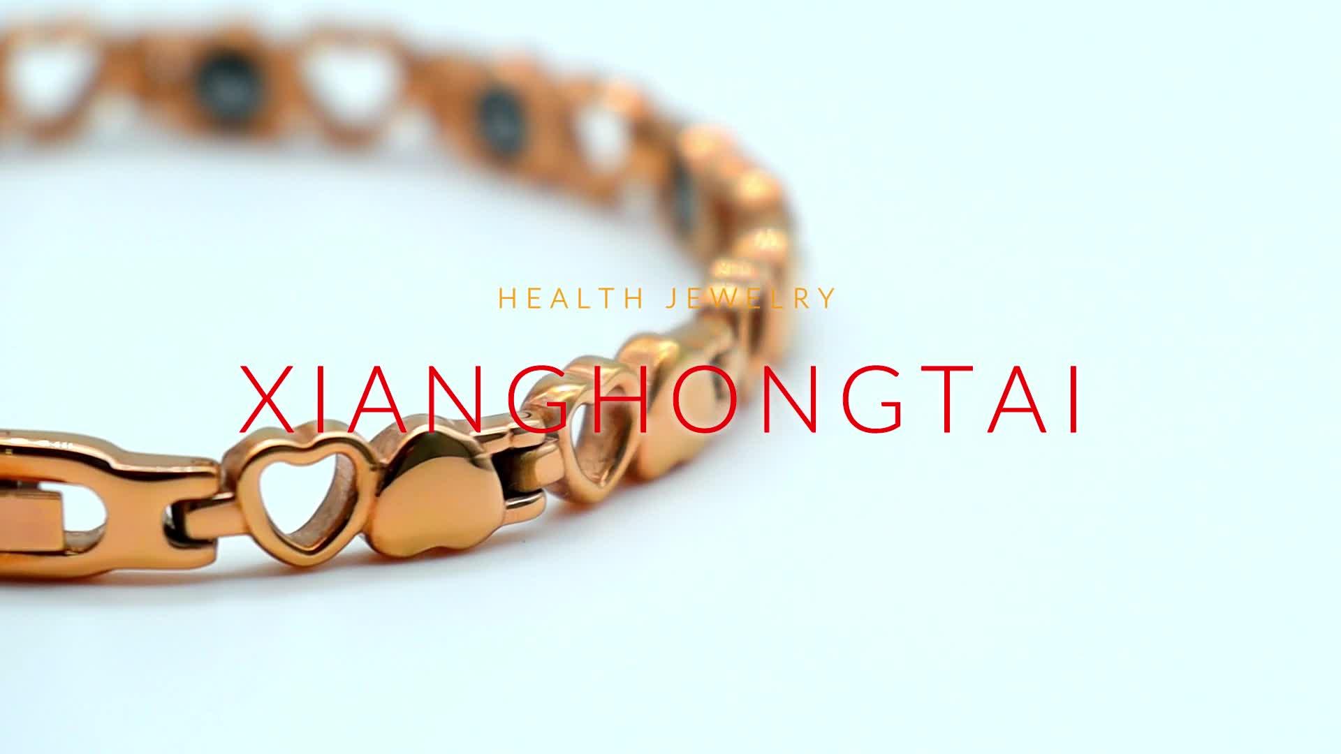 Gold heart Shape hematite ion bio magnetic necklace