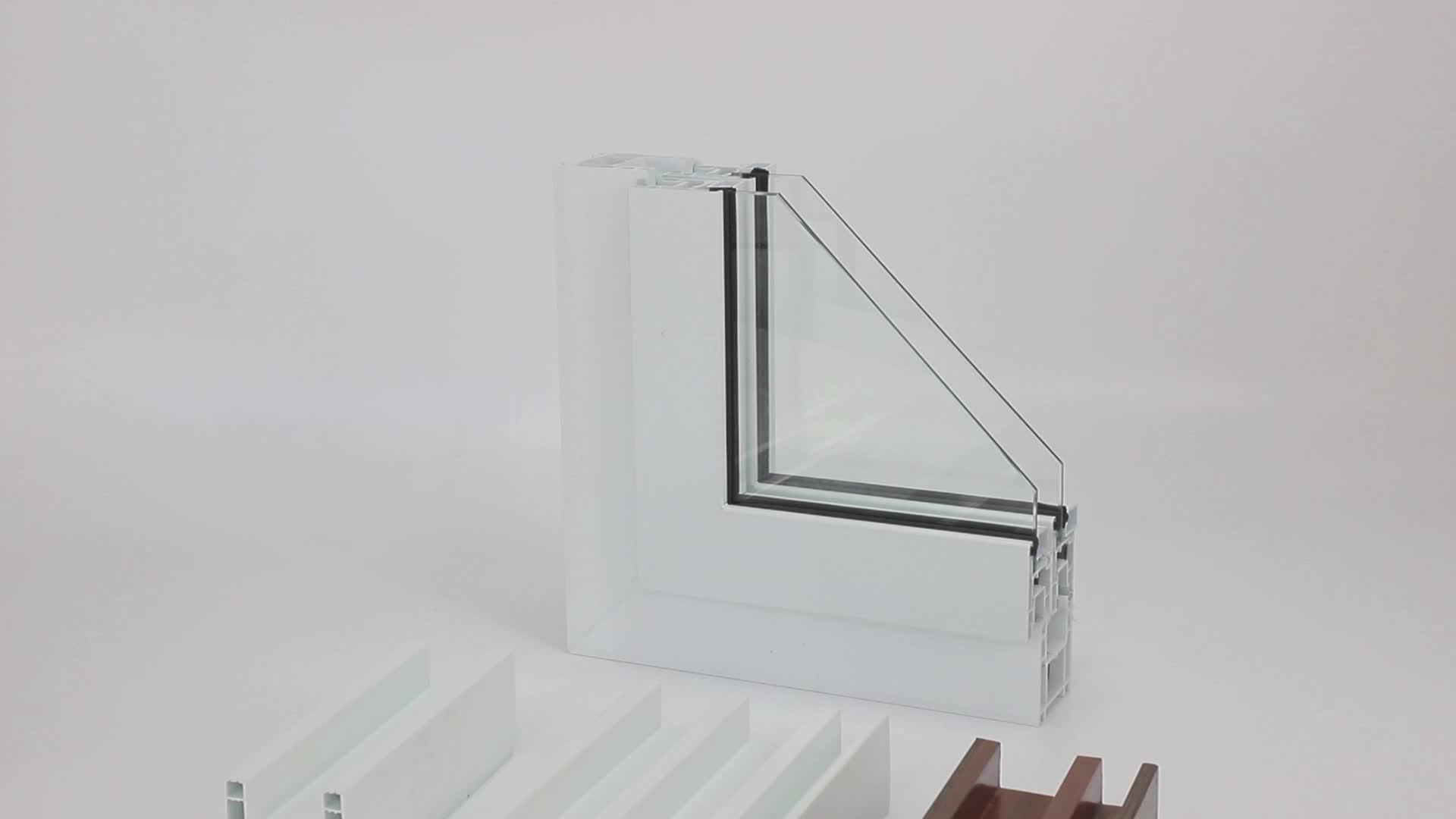 Nieuwste Moderne Huis Ontwerpen Orkaan Impact Geluiddichte/Thermische Breken Pvc/Upvc Plastic Gehard Glas Openslaande Ramen Deuren