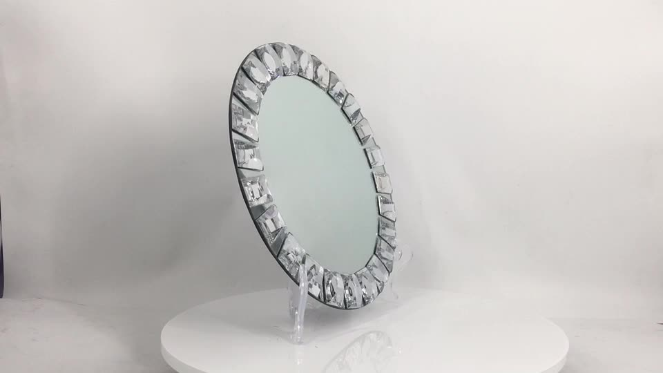 PZ00870  high quality crystal diamond wedding glass mirror charger plates wholesale