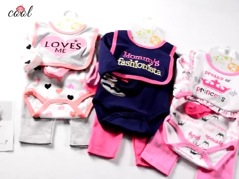 2019 groothandel pasgeboren baby boy gift romper set 100% katoenen baby kleding set
