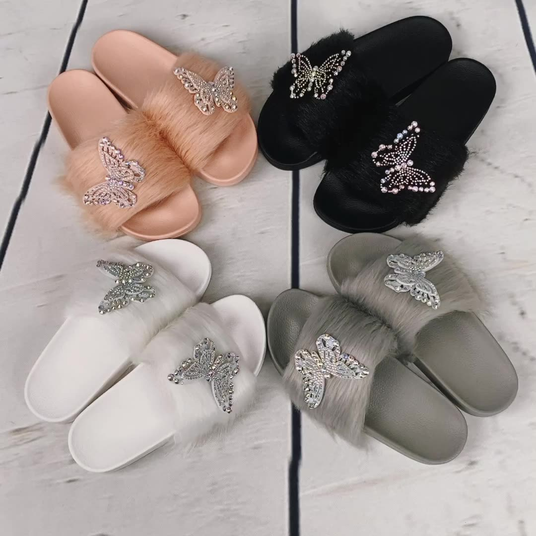 Woman Winter White Fluffy Home Ladies New Faux Outdoor Womens Slides Slippers With Fur