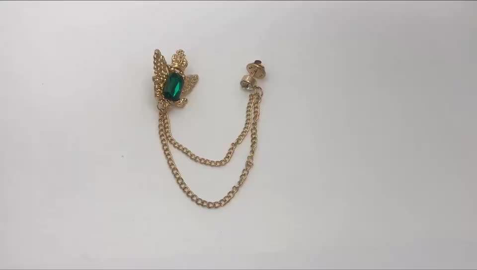 Mewah Mewah Crystal Crown Pria Rantai Bros Pin
