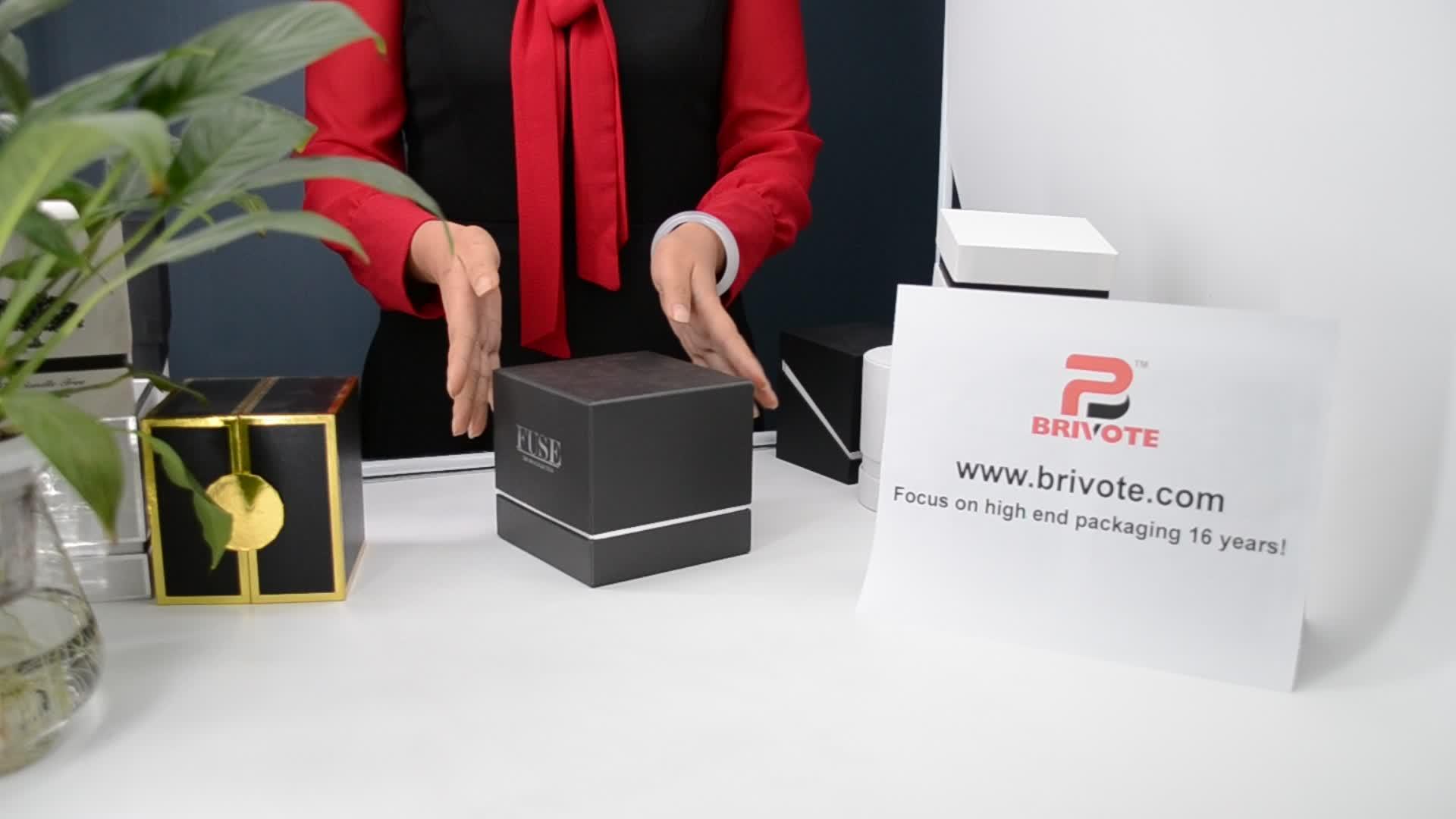 Dongguan Brivote Luxo preto cilindro caixa de vela de papel rodada