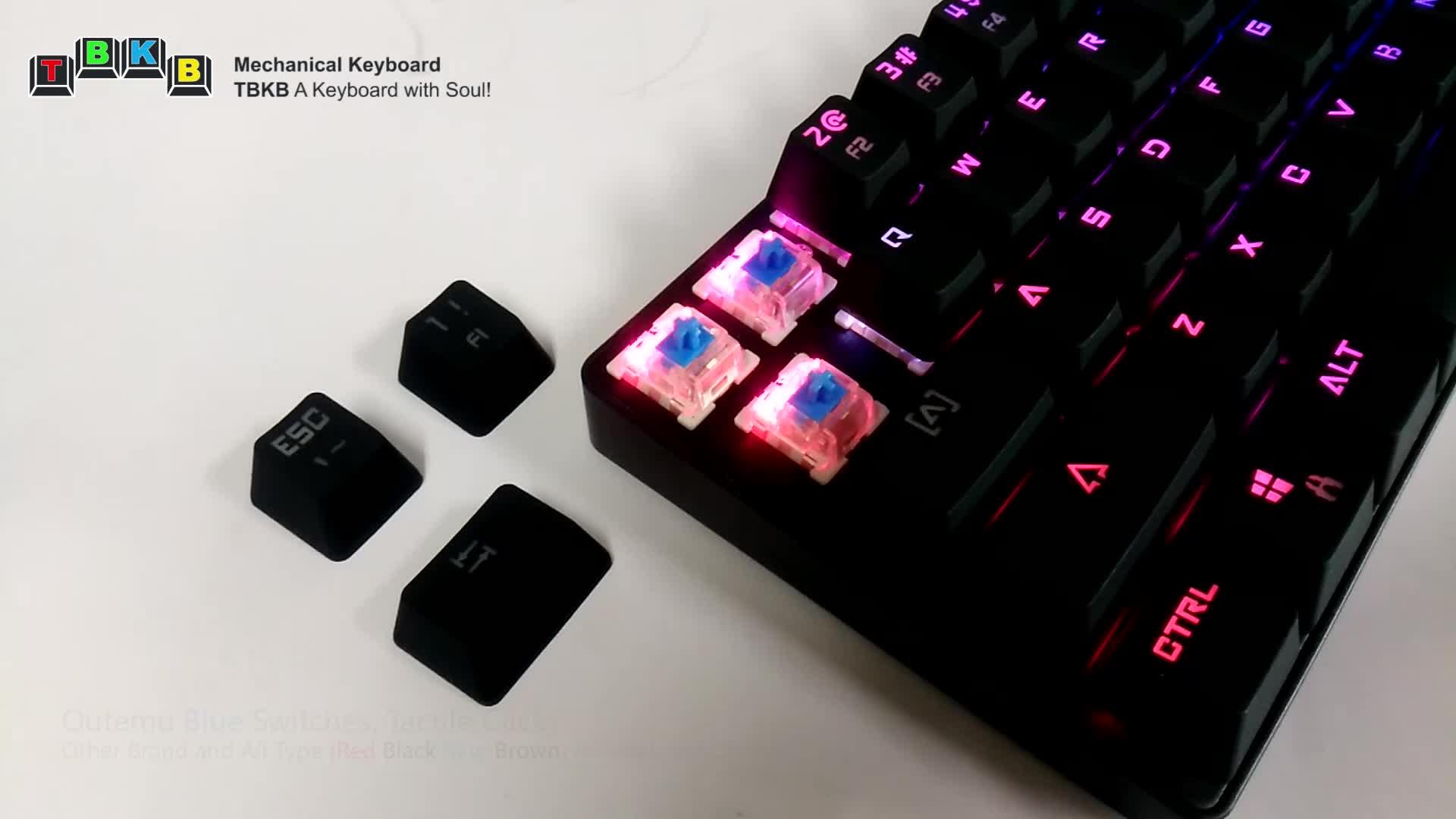 TBKB 63-Keys Dual Mode RGB Backlit Gaming and Typing Wireless Mechanical Keyboard