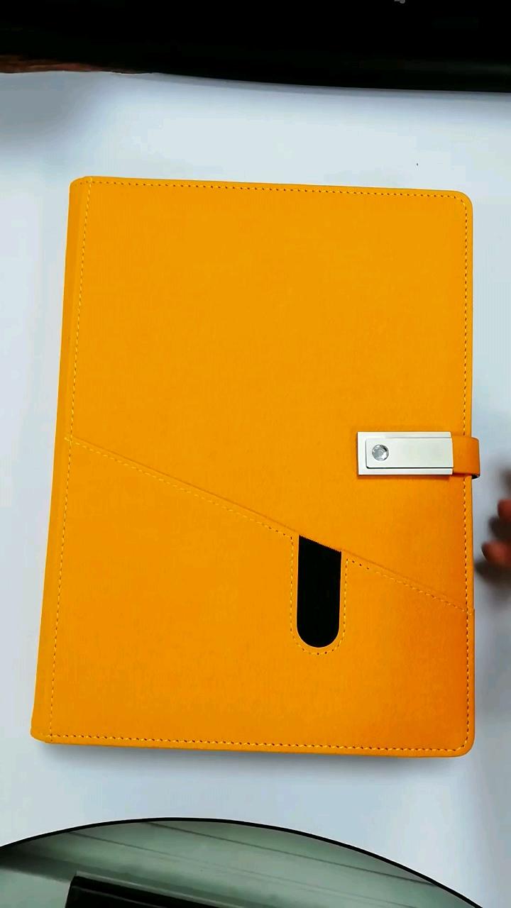 עור מפוצל יומן מחברת עם עט חכם נייד powerbank מתכנן מחברת עם powerbank ו-usb
