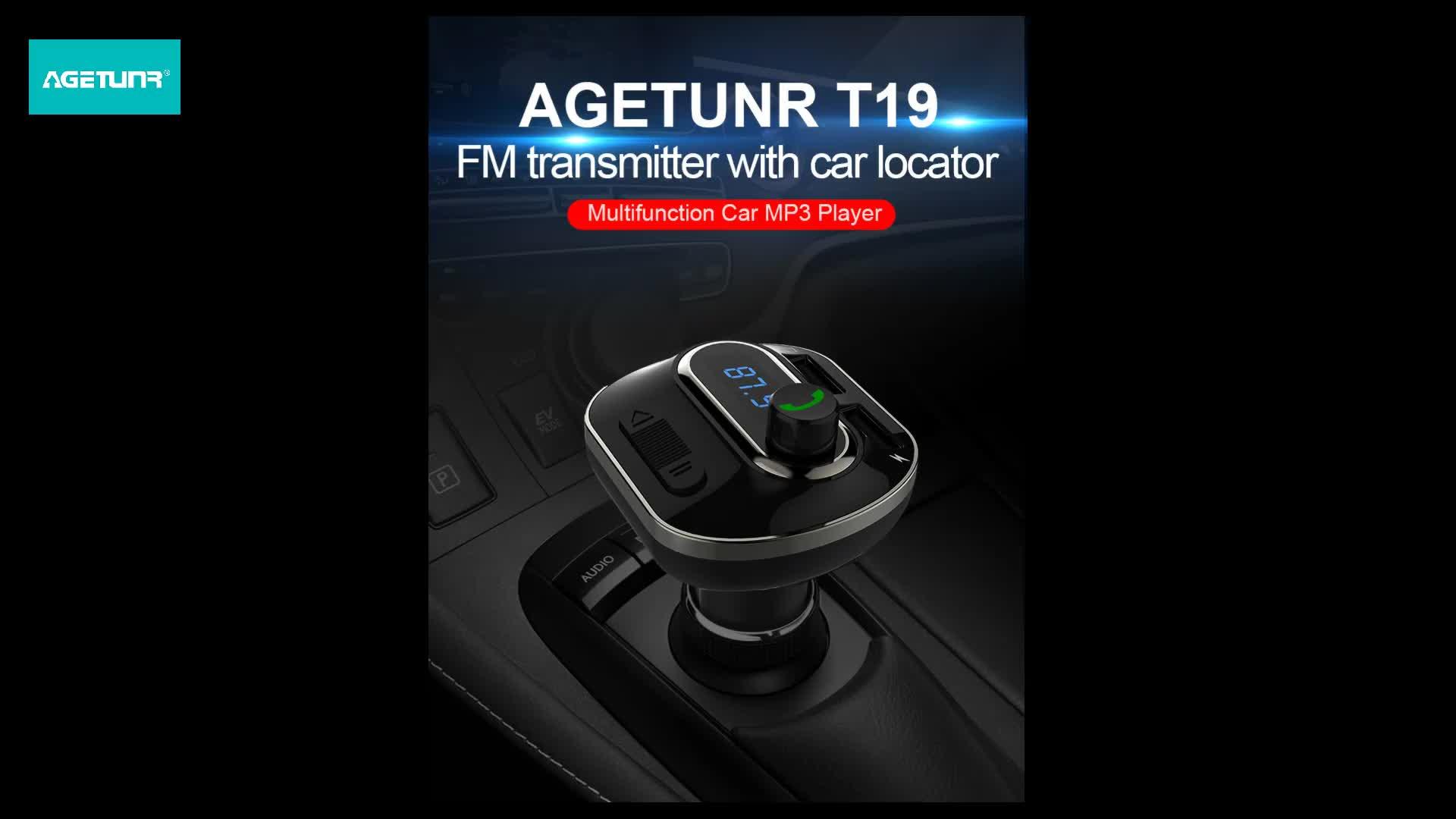 AGETUNR T19 Bluetooth 4.2 định vị xe ứng dụng fm transmitter AUX đọc thẻ microSD/U-đĩa DC 5 v 3.4A sạc xe stereo máy nghe nhạc Màu Đen