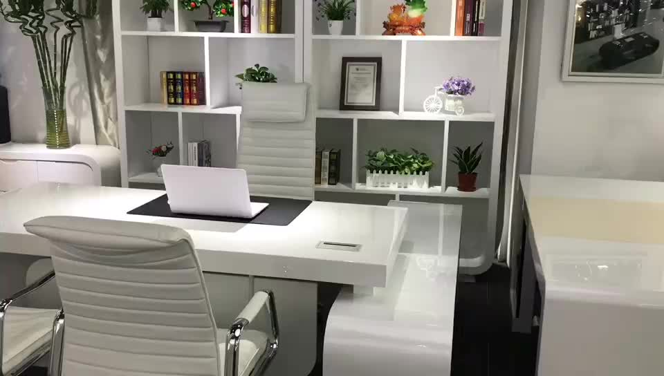 Piano white MDF wooden luxury executive furniture office desk office equipment